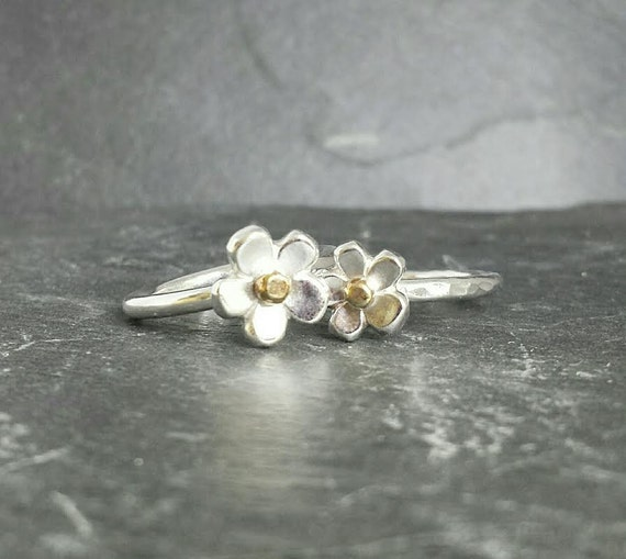 Little Flower stacking ring duo in sterling silver with a 9ct 9k 14ct 14k solid gold centre, delicate and deliciously dainty, UK