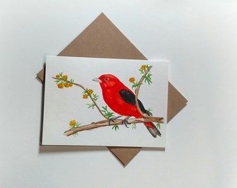 SCARLET TANAGER Original watercolor painting Card/ Red Bird/ Mother's Day Card