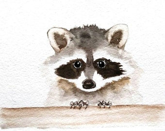 Raccoon Watercolor painting  / Original Watercolor/ Fine Art , Nursery Decor, Animal Art Painting