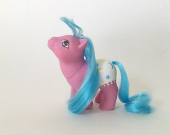 Vintage My Little Pony Baby Starburst, Fancy Pants Baby G1, pink with blue hair and diaper, by Hasbro Toys, Year 7 1980s toys