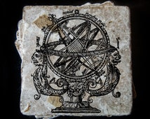 """Armillary sphere coasters -  Real leaf tumbled stone plaques measuring 4"""" x 4"""". Set of 4"""