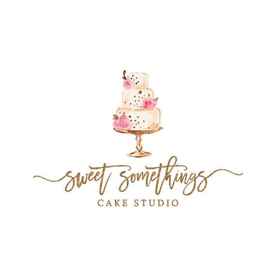 Premade Bakery Logo Design Watercolor Cake Logo Calligraphy