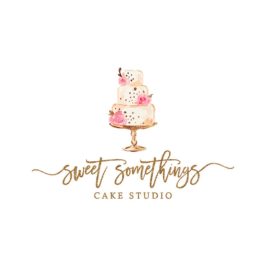 Premade Bakery Logo Design Watercolor Cake Logo Calligraphy