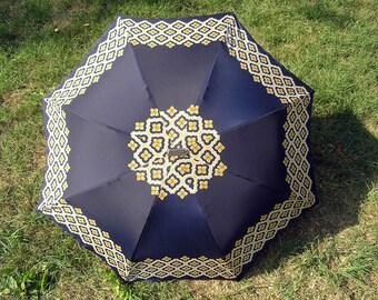 Vintage Umbrella, Retro Rain or Sun Umbrella Navy Yellow White, Mid Century Collapsible Umbrella, Vintage 1960 Kobold Plano Umbrella Germany
