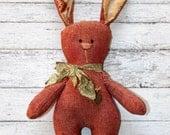 Little Raggedy Chambray Easter Bunny - Primitive Rabbit (HAFAIR)
