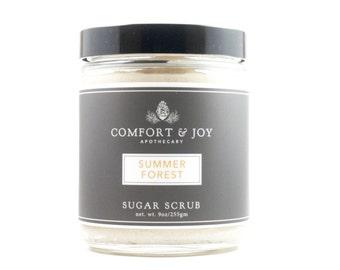 Summer Forest Sugar Scrub, Natural Skincare, Body Scrub, Exfoliant, Green Beauty