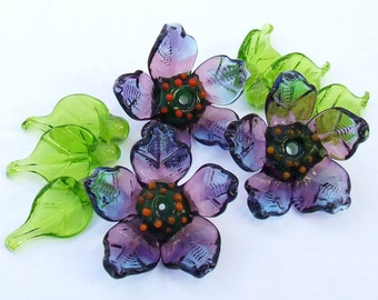 Lampwork Glass Flower Beads for Jewelry Making, Purple flowers, Set of 3 flowers and 6 Green Leaves, Made to Order !