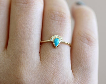 Turquoise Engagement Ring with Half Diamond Halo - Turquoise & Diamond Engagement Ring - Gold Turquoise Ring