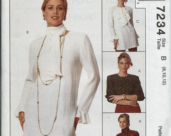 McCall's 7234 Misses/ Miss Petite 2 Hour Tops Pattern, Blouse and Scarf, 8-10-12, UNCUT
