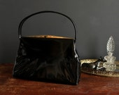 "Vintage Black Patent ""Leather"" Handbag By Dover Vinyl Two Strap Purse"