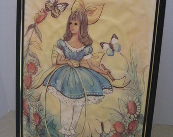 Framed Art Work, Vintage Set of Four Big Eyed Girl Prints, Art work, Signed M. Hartnett, Drawing, Paintings
