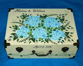 Wedding Box Card Holder Romantic Wood Wedding Card Keepsake Box Hand Painted Envelope Suitcase Box Personalized Wedding Bridal Shower Gift