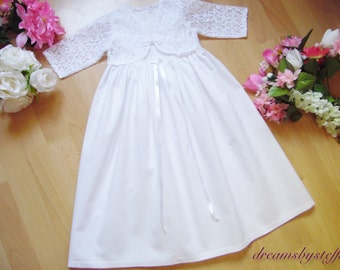Short Christening gown with bolerofrom lace, gown 100% cotton varioussizes