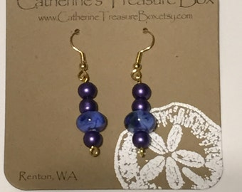 Handmade Blue, Purple and Green Art Glass Bead and Purple Glass Pearl Dangle Earrings on Gold Plated French Hook Ear Wires