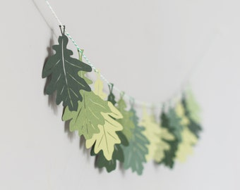 Green Oak Leaf Garland - Paper Bunting - Paper Leaves - Autumn Decoration - Autumn Garland - Oak Leaf Bunting - Fall Decorations
