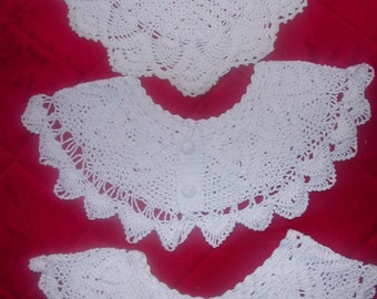 Lot of 3 Vintage 40s/50's Hand Crocheted Detachable Collars