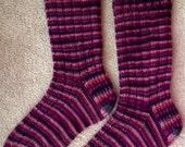 Hand Knit Wool Socks - Cherry Tree Hill yarn Wool & Silk (S-213)