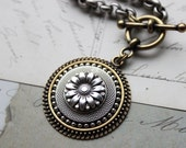Sunflower Necklace chunky, silver and gold Mixed Metal Necklace, Button Jewelry veryDonna