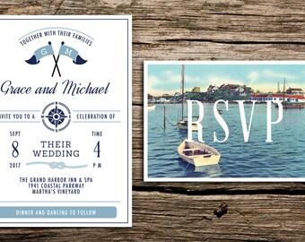 Vintage Harbor Wedding Invitation and Postcard RSVP // New England Wedding Invitation Cape Cod Invitation Preppy Postcard Lighthouse Navy