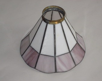 Vintage Pink White Leaded Stained Glass Light Shade