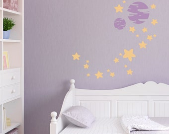 Stars and Planets Wall Decal - Space Decal, Solar System Decal, Kids Space Decor, Stars And Planets. Science Decal, Planets Art, Space Decor