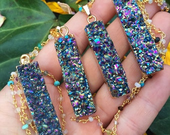 Rainbow Druzy bar + rainbow gemstone rosary chain layering necklace