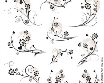 Digital Flourish Swirls Page Decorations Flowers COMMERCIAL USE Clipart Decorative Wedding Scrapbook Craft Supply Instant Download 10134