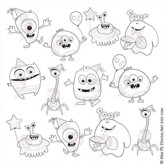 little monsters clipart digital stamps
