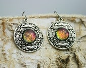 Magic Gathering - Pink Gold Green Blue - Color Shifting Dangle and Drop Earrings