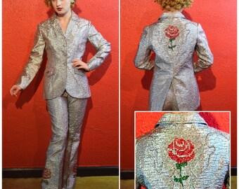 1960s Western Metallic Sequin Cowgirl Pants Suit