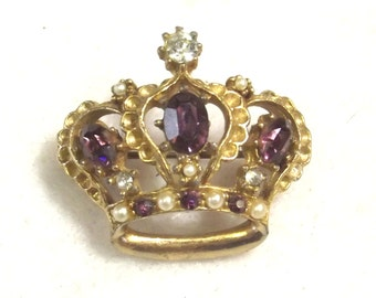 Vintage Pearl and Rhinestone Crown Pin - Rhinestone Crown Jewelry - Collectible Crown Jewelry