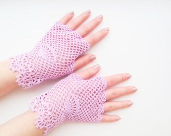 Lilac irish lace gloves,bridal lace gloves,crochet jewelry,vintage inspired fingerless gloves,bohemian summer gloves,romantic wedding gloves