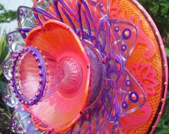 Garden Art Glass Flower Hand Painted in  Pink Melon, Tiger Orange & Dioxine Purple - Garden Accessories, Garden Gift - Garden Art