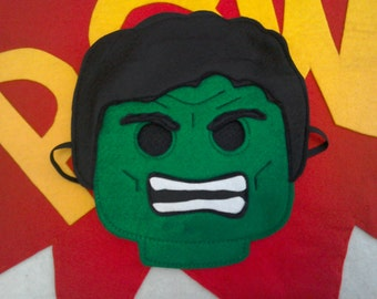 Felt Lego Hulk mask inspired by the cartoon. Great gift for boys, birthday present, costume party, Halloween, role play, FUN!