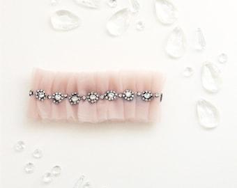 No. 22 Tulle Garter, Rhinestone, Wedding Garter Set, Bridal Garter, Custom Garter