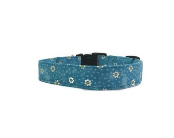 Dog Collar Little Daisies on Turquoise Adjustable Collar Flowers Quick Ship