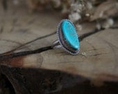 Vintage Sterling Silver + Authentic Native American + Natural Turquoise Stone Ring