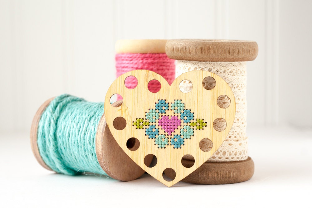 Heart thread holder diy kit embroidery floss by