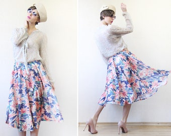 Vintage pink blue floral print full circle high waist ankle midi skirt M-L