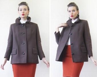 Vintage heavy brown wool single breasted minimalist winter short jacket coat S