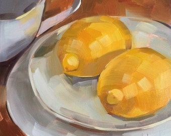 Twin Lemons, Original Oil Painting, 6 x 6 inches, free domestic shipping