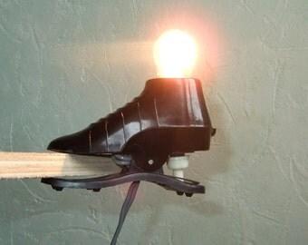 Vintage Mini Lamp Black Shoe, Small Clamp Reading Light, Lamp Home Decor