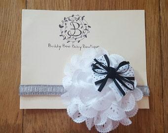 Black and White Flower Baby Headband