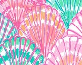 9 X 18 or 18 X 18 inches Lilly Pulitzer fabric Multi Shell O  Cotton