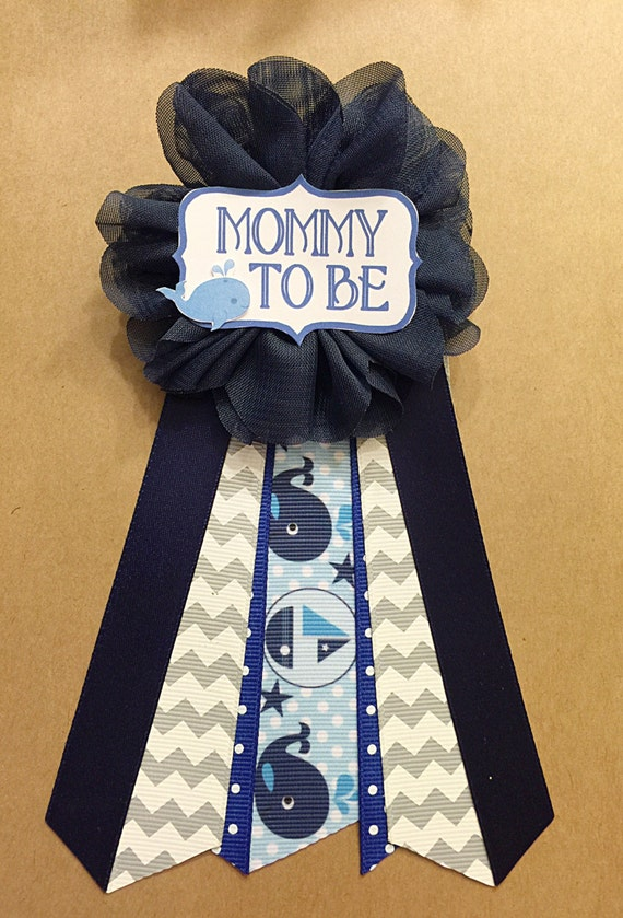 blue whale baby shower pin mommy to be pin flower ribbon pin. Black Bedroom Furniture Sets. Home Design Ideas