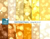 70% Sale Gold Bokeh Digital Papers, Bokeh Scrapbook Papers - card design, invitations, background - INSTANT DOWNLOAD
