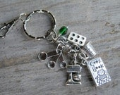 Personalized Baker Keychain, Baking Zipper Pull, Cupake Muffin Tin Accessory, Chef Keychain with Birthstone, Mixer Measuring Spoon Keychain