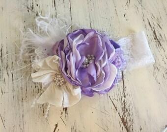 Purple Baby Girl Headband- Baby Headbands- Matilda Jane Headband- Giggle Moon Headband-Avry Couture-   flower Headband- Boho Headband