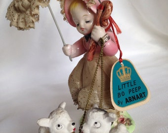 Little Bo Peep and Sheep by Arnart with  paper tag and Japan Sticker-Spaghetti style figurine