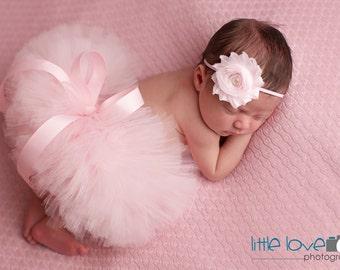 SOFT PINK NEWBORN Tutu, Pink Tutu Set, Pink Baby Tutu, Baby Girl Tutu, Newborn Photography Prop, Photo Prop, Birthday Tutu